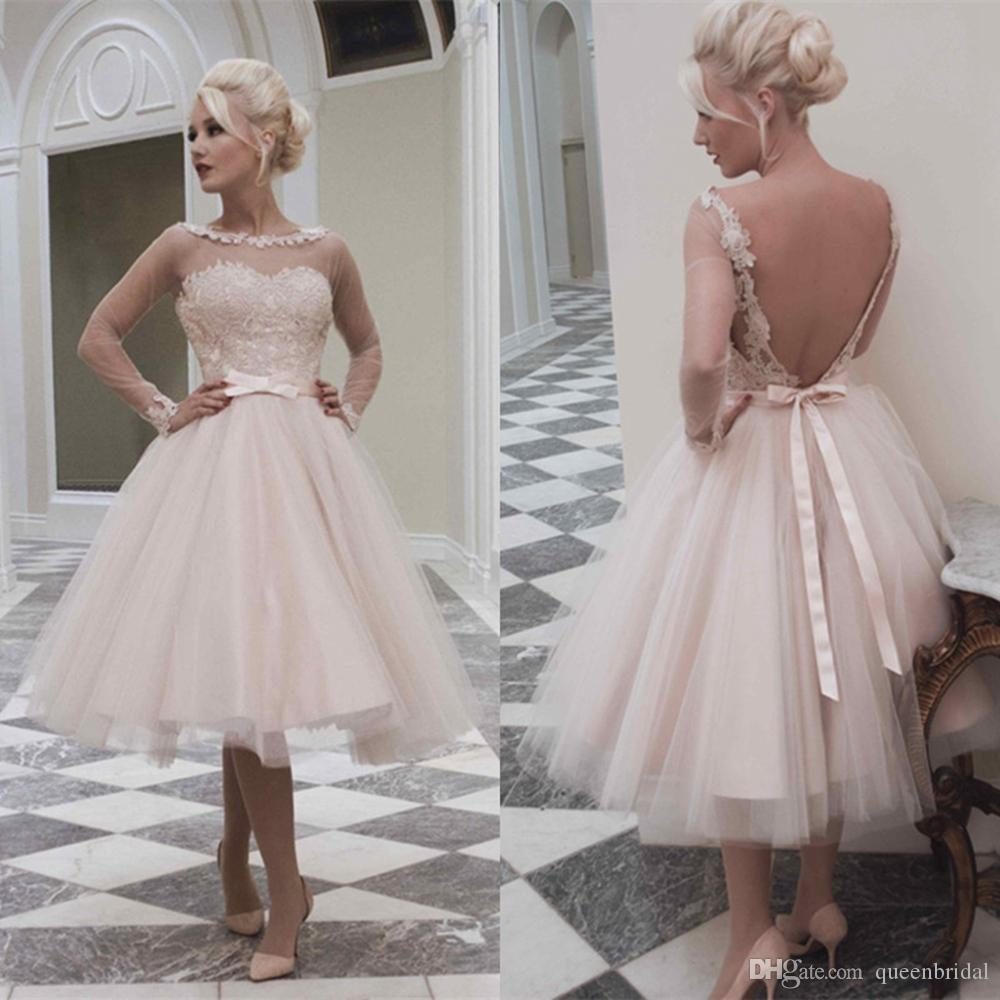 Discount 2015 Pink Long Sleeve Lace Wedding Dresses Sheer