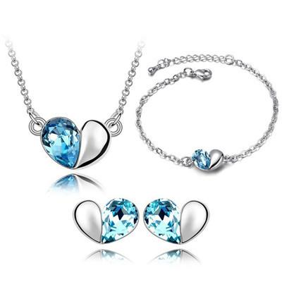 Bracelets Earrings Necklaces Fashion Austria Zircon Crystal Necklace+Earrings+Bracelet Love Heart Jewelry Set Diamond Jewellry Free Ship DHL