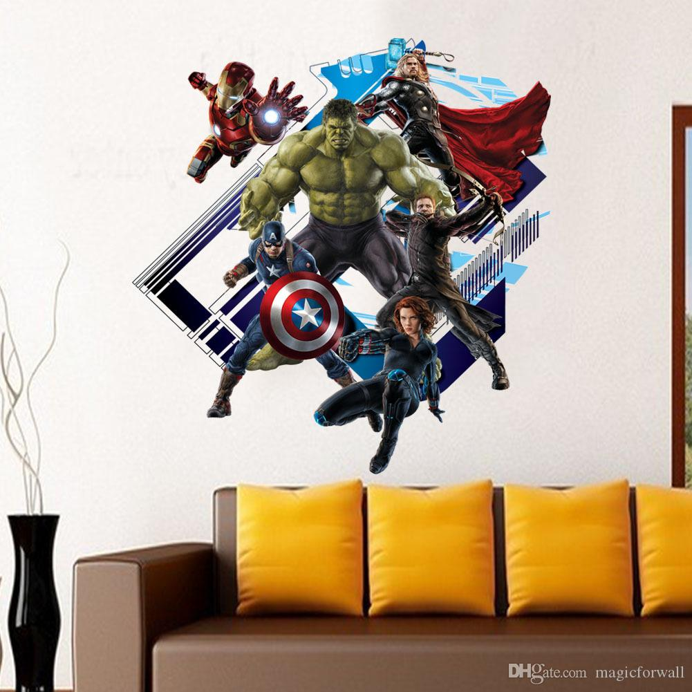 avengers age of ultron peel and stick wall decal stickers removable 3d art wall murals decoration for kids bedroom nursery wallpaper wall decals for cheap