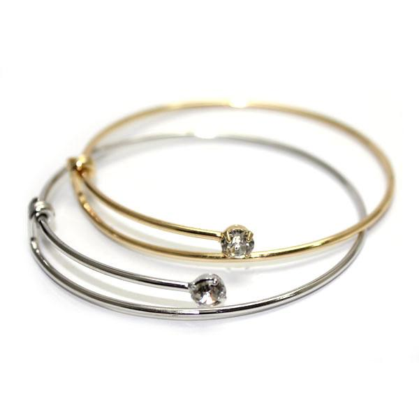 New Design Silver and Gold Plated DIY Charm Bangles Adjustable Stainless Steel Wire Charms Bangle Crystal Bracelet , AL-01-1