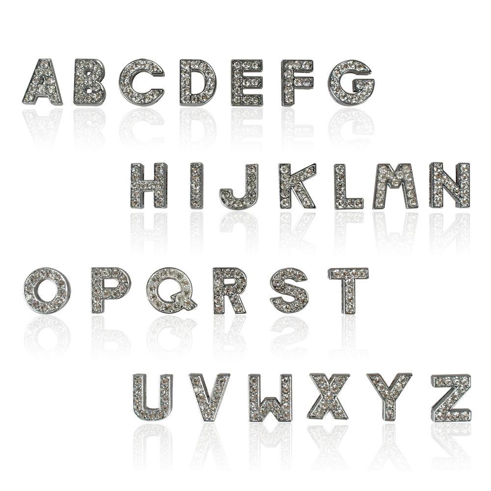 Rose / Blanc Couleur Personnalisé nom A-Z Curseur DIY Lettres Strass 10mm Lettres Chien Chien Pet Cat Name Charm