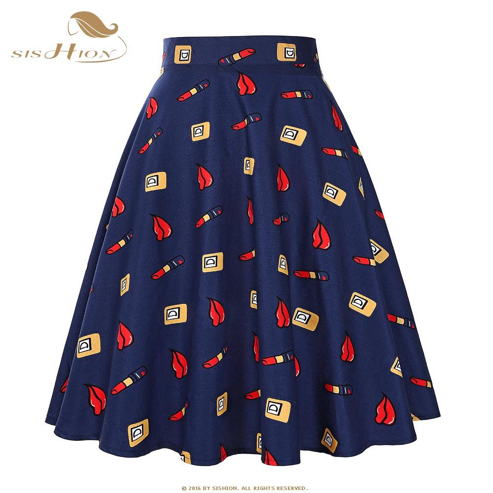 ea6fab660e 2019 Wholesale 2017 New Fashion Black Skirt Women High Waist Plus Size  Floral Print Polka Dot Ladies Summer Skirts 50s Vintage Midi Skirt 20S2  From ...