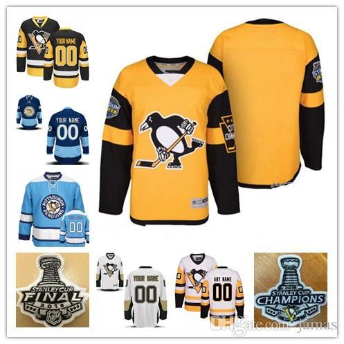 Custom 2018 Pittsburgh Penguins Mens Womens Youth Black Third Gold Yellow  White Navy Blue Winter Classic Stadium Series Hockey Jerseys UK 2019 From  Jamas 38b91bcbfa