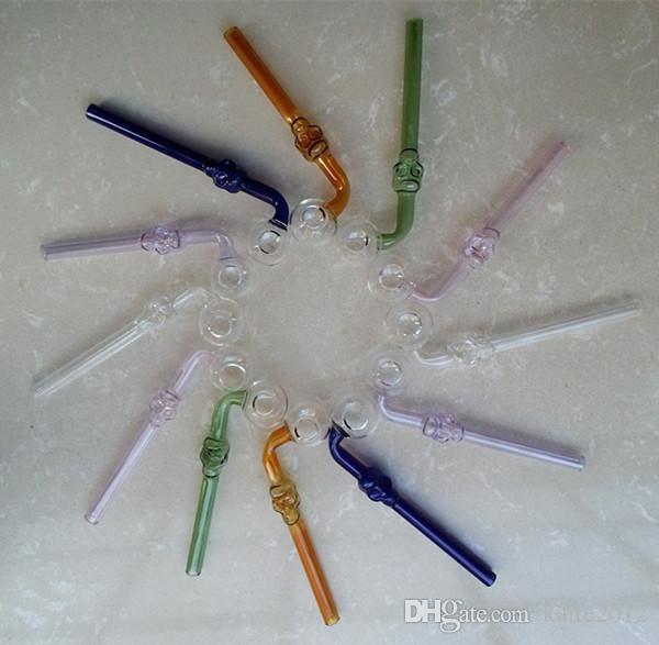 Череп цветные изогнутые стеклянные трубы ручной выдувной череп масляная горелка трубы табачные трубы дешевые ручные трубы бесплатная доставка к нам