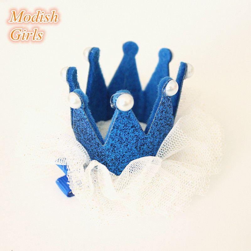 Высокое качество новорожденных девочек Корона войлок заколки тиара сторона зажим для волос Принцесса корона с блеском тюль золото серебро довольно Корона зажим для волос