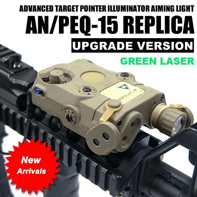 التكتيكية AN / PEQ-15 الليزر الأخضر مع الأبيض مضيا الشعلة إضاءة الأشعة تحت الحمراء للصيد في الهواء الطلق أسود / الظلام الأرض