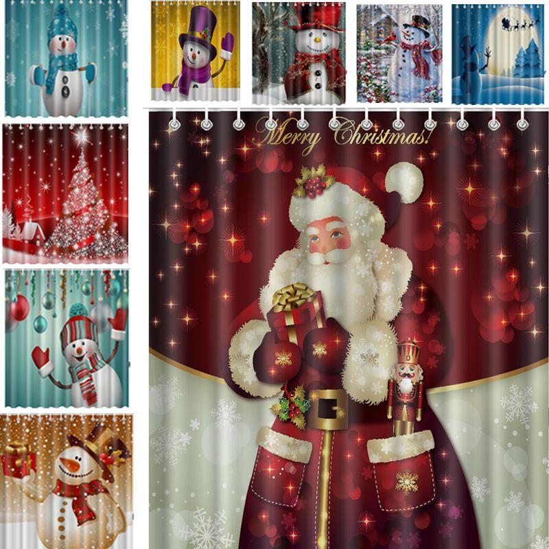Christmas Shower Curtain Merry Sleepy Snowman Waterproof Curtains Bathroom 165x180cm Cotton Polyester Santa With Hooks