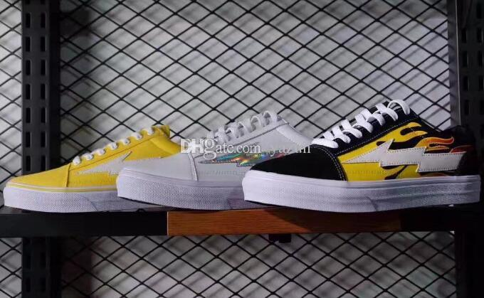 Discount REVENGE x STORM women mens Casual skate shoes,Skateboard Classic skate models Sneakers,AMAC Customs White Botanical Old Skool Shoes
