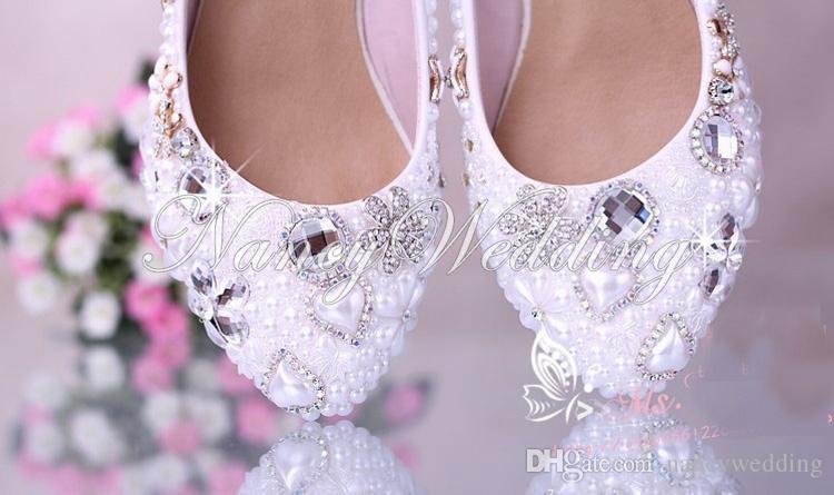 Lujoso Elegante perla de imitación del banquete de boda Zapatos de baile Zapatos de novia Zapatos de tacón bajo de diamantes de cristal Mujer Señora Zapatos de vestir