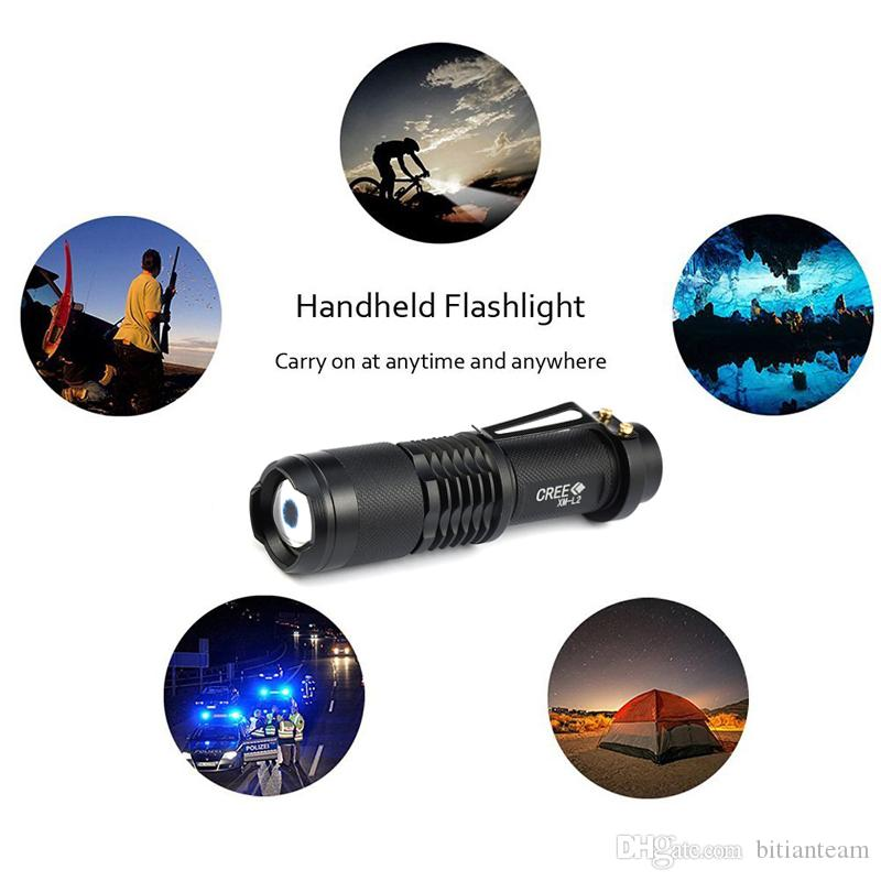 high power L2 flashlight Mini zoomable torch camping powered by 18650 lithium battery for Riding camping hunting