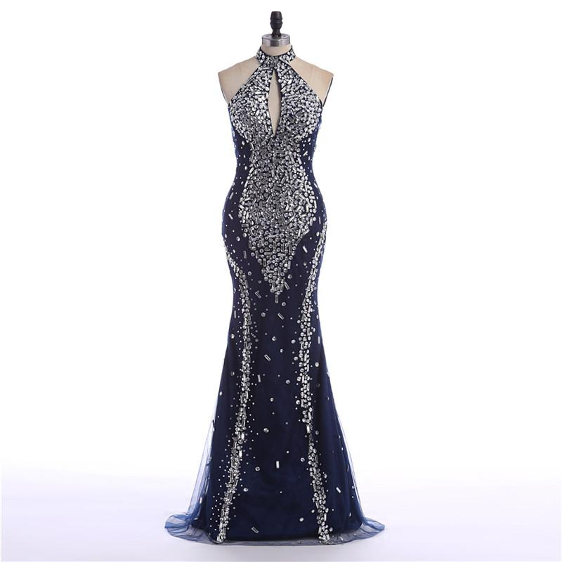 Mermaid Evening Dresses High Neck Sleeveless Big Ass Navy Blue Luxury Beading Sexy Made In China Special Occasion Sale Long Party Gowns