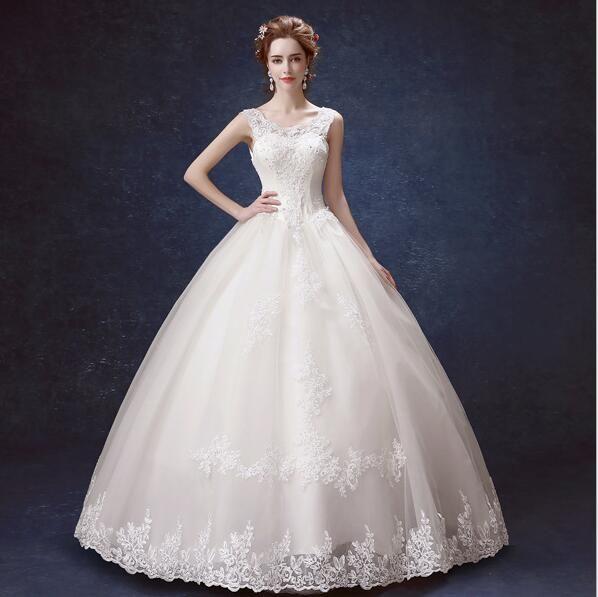 Wedding dress Charming Bateau Neck Lace princess Wedding Dresses Bridal Gowns with Sash Bow Sweep Train Custom Made BD01