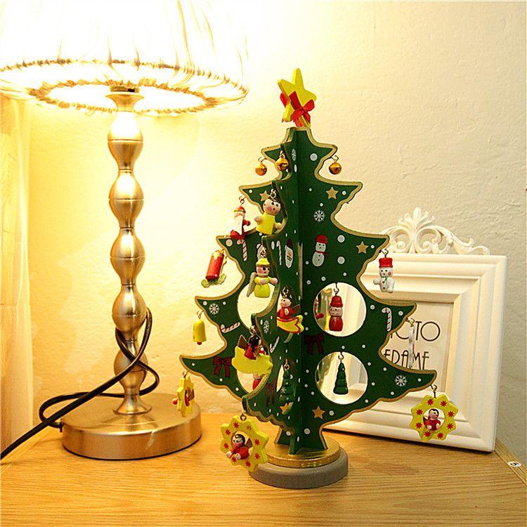 2018 Hot Christmas Decorations Desktop Mini Wooden Ornaments  Three-dimensional Christmas Tree Room Desktop Ornaments Kids Creative Gift  Decorations ... - 2018 Hot Christmas Decorations Desktop Mini Wooden Ornaments Three