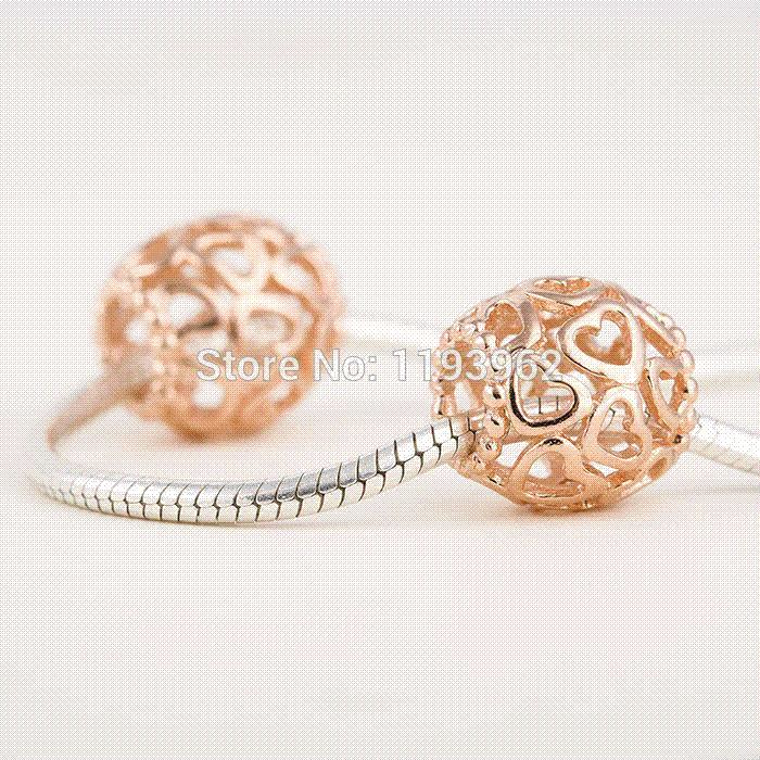 Discount Pandora Jewelry Charms: Wholesale 14k Rose Gold Heart Charms Fits Pandora Charm