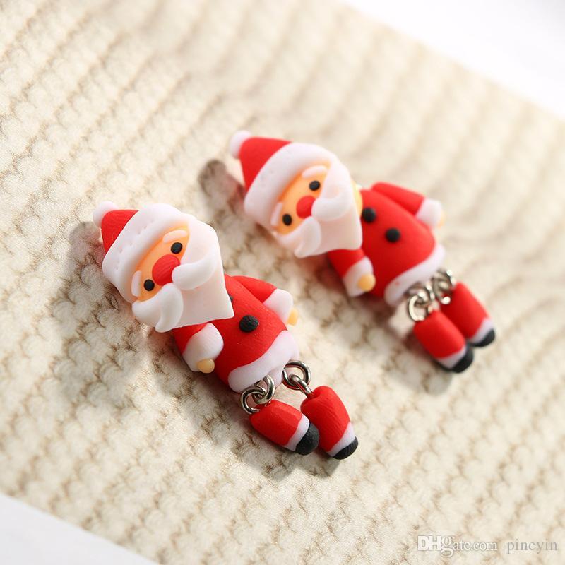 3D Handmade Polymer Clay Belle Noël Santa Claus Stud Earring Pour Femmes Fille Boucles D'oreilles Bijoux NE847