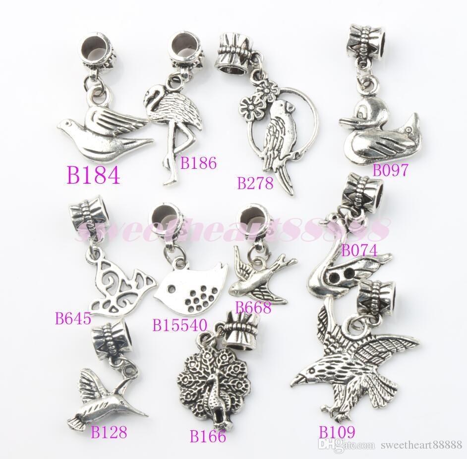 100 adet / grup Barış Dove Uçan Alaşım Metal Büyük Delik Boncuk Tibet Gümüş Fit Avrupa Charm Bilezikler Takı DIY B173 23.8x13.8mm