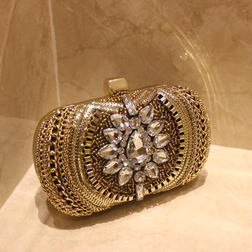 Gold Diamante Formal Party Wedding Prom Clutch Bag Purse ...  Formal Gold Clutches
