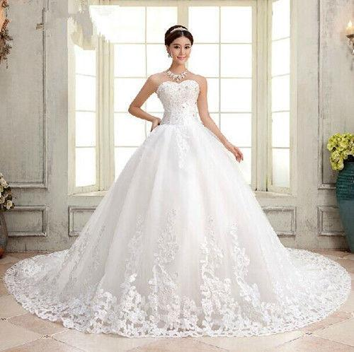 New White Or Ivory Bride Gown Wedding Dresses 2017 Long Bigtail ...