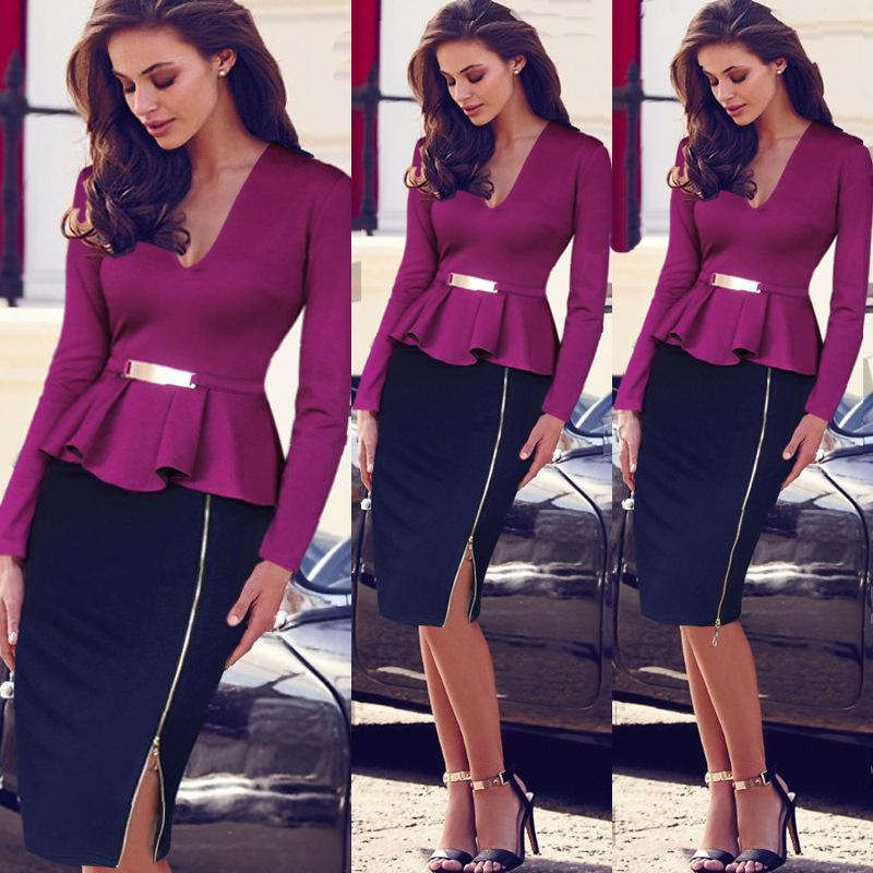New Women Working Clothes Wholesale Fake Two Piece Deep V Neck
