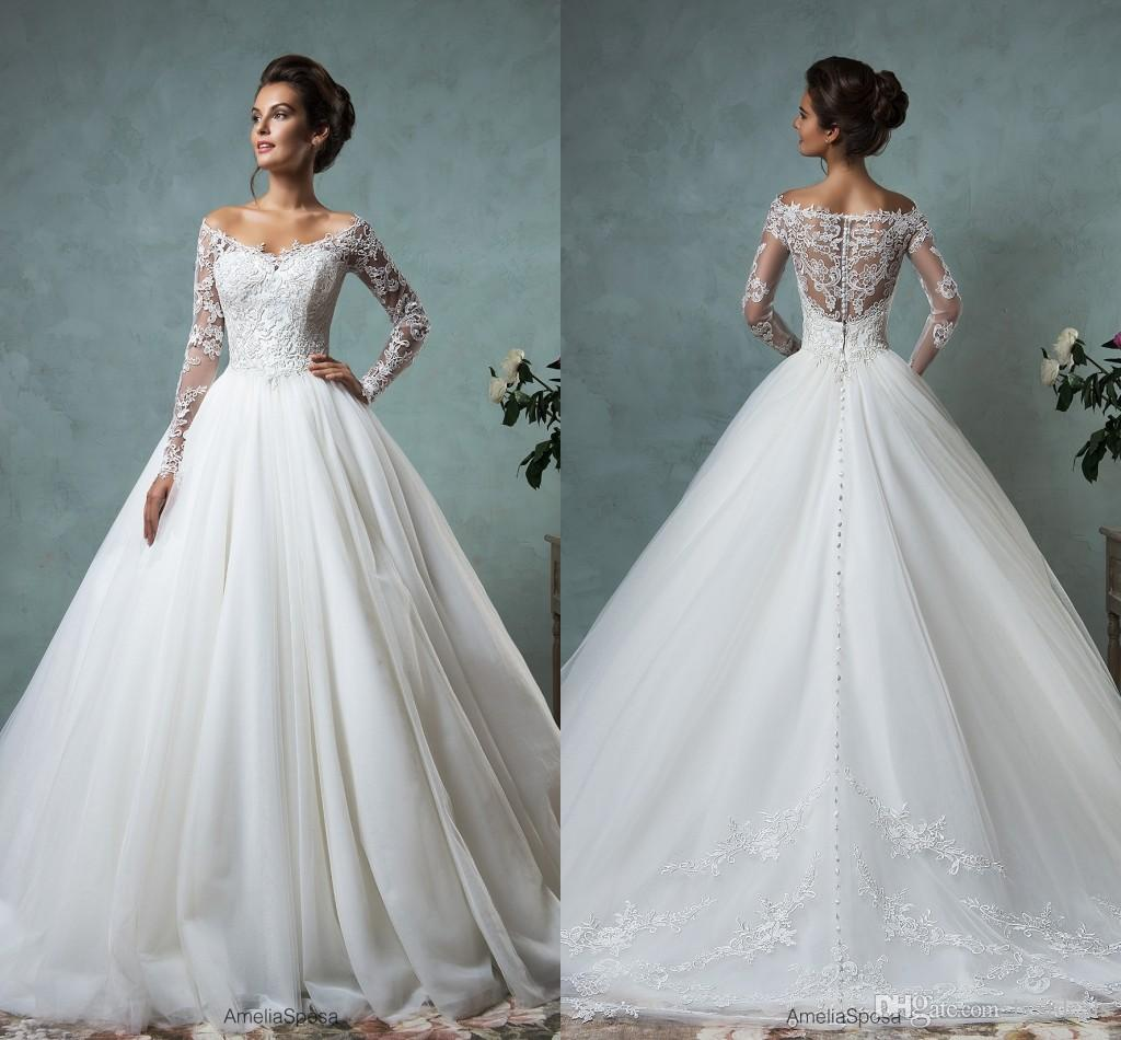 Amelia Sposa 2016 Lace Tulle Wedding Dresses Vintage Spring Fall Off Shoulder Long Sleeve Bridal Gowns Plus Size Arabic Wedding Gowns AS2005