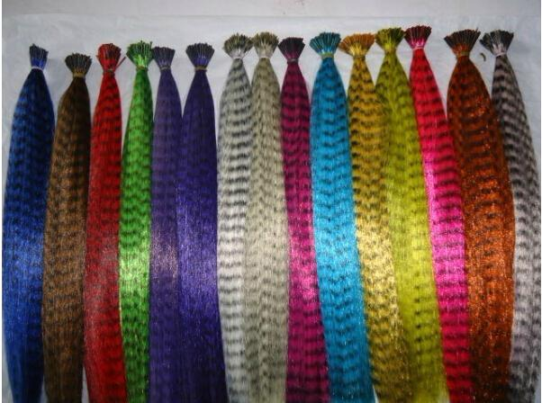 16inch synthetic rooster grizzly feather hair extension+one needle piler+ Crochet hook silicone rings for free