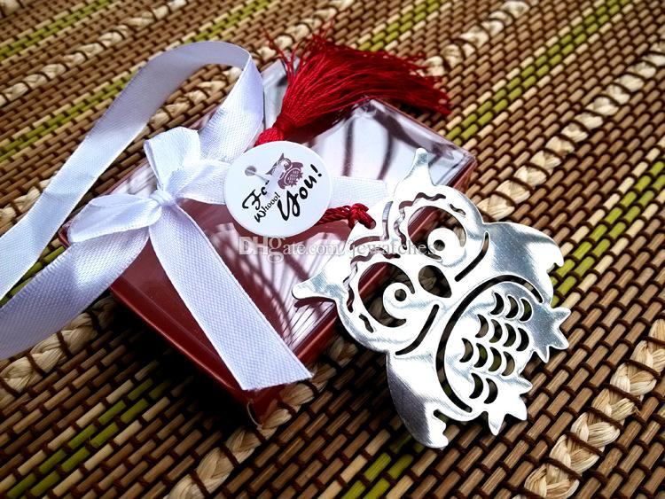 18 Style Metal Bookmarks With Tassels Stationery Gifts in Box Package Wedding Favors Baby Shower Party Gifts Christmas New Year Gift