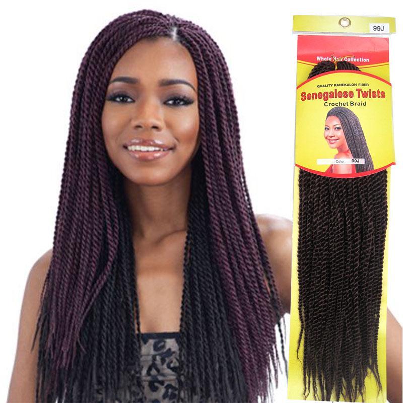 Crochet Braids Senegalese Twist Braid Hair Kanekalon Afro Kinky Braids Hair Extensions 18inches Kinky Hair Braid 3packslot