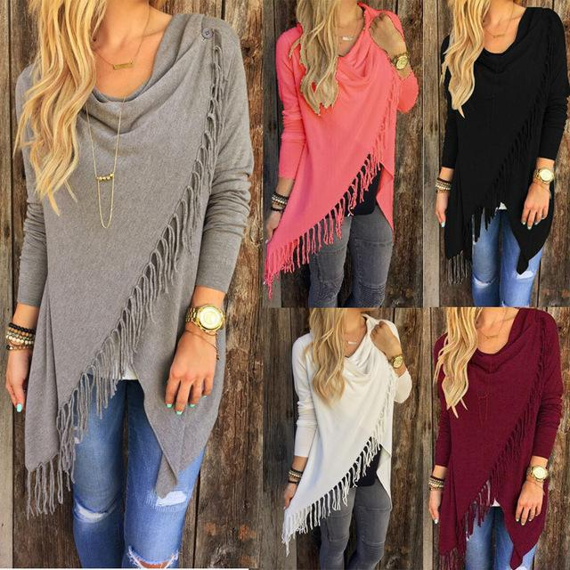 006f74ccb1f 2019 2017 New Women Autumn Casual Jacket Long Sleeve Knitted Fringe Tassel  Cardigan Loose Sweater Outwear European And American Style Winter Coat From  Jokay ...