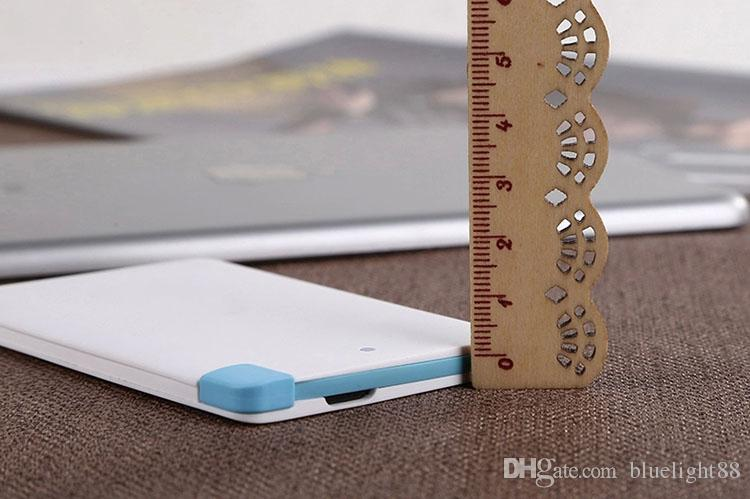 Super Light Small 2500mah Ultra Thin Credit Card Power Bank Built In USB Cable Backup Emergency Super Light Small