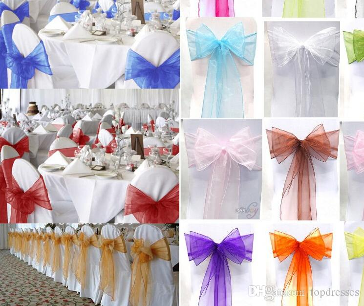 2015 Wedding Party Banquet Organza Sash Bows100 a  For White Chair Cover Wedding Decorations Favors Wedding Supplies Accessories