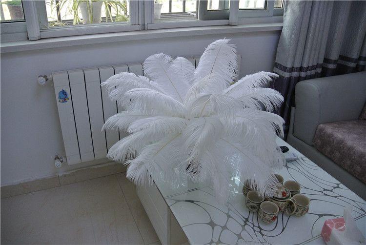 Livraison gratuite-14-16inch blanc plumes d'autruche plumes pour centres de mariage weddding décor fête événement décor fournir