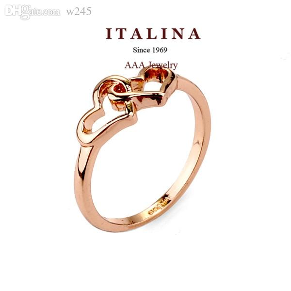 Wholesale Rose Gold Plated Fashion Hollow Heart To Heart Finger