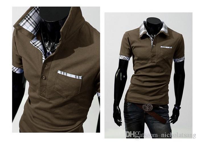 Envío gratis 2016 nuevos hombres ocasionales con estilo delgado camisas de manga corta ajustadas camisetas de cuadros camiseta de alta calidad es 5 más tamaño