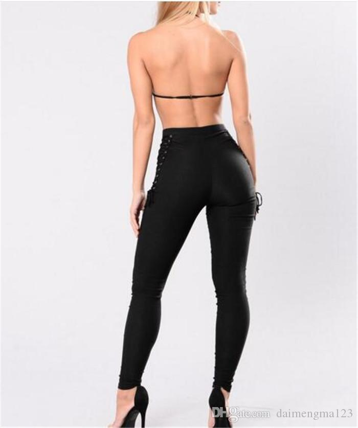 Donna Casual Vita alta Spesso Slim Skinny Stretchy Pantaloni lunghi Lace up Pantaloni matita Ladies Black Leggings Pantaloni Jeggings M108