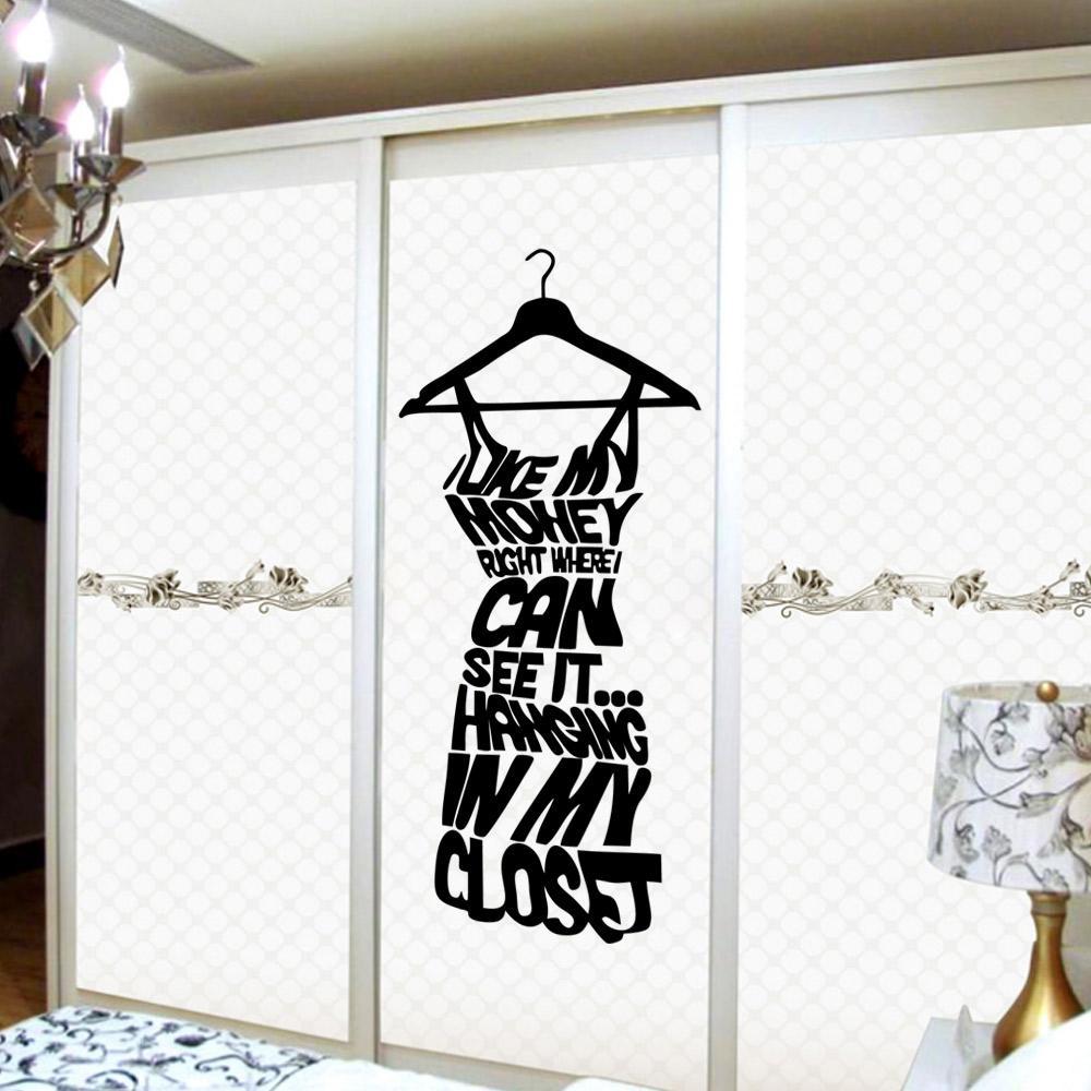 Fashion Black Women Dress Wall Decal Sticker---Love my Money Wall Quote Decor Poster Art for Wardrobe Decoration Adesivo De Parede