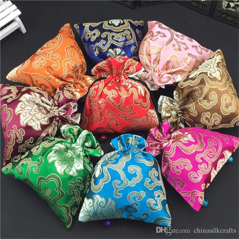 Luxury Drawstring Large Gift Bag Silk brocade Cloth Packaging Jewelry Necklace perfume spices Storage Pouch Candy Tea lavender Favor Bags