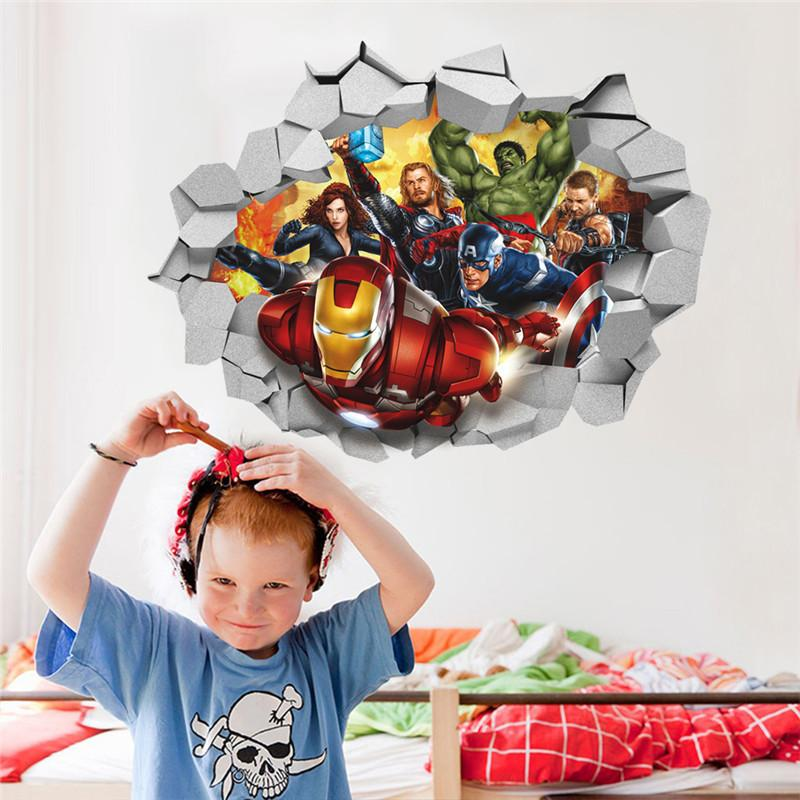 Cartoon Marvel's Avengers Movie Wall Stickers For Kids Rooms Children Wall Decals 3d Through Wall Poster Mural Boy's Gift