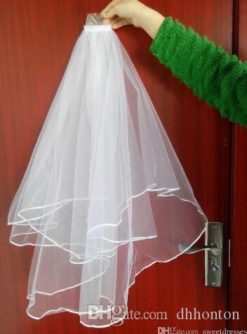 Velos de boda de dos capas más baratos Real Garden Velos hasta el hombro con peine Velos blancos de alta calidad para bodas HT50