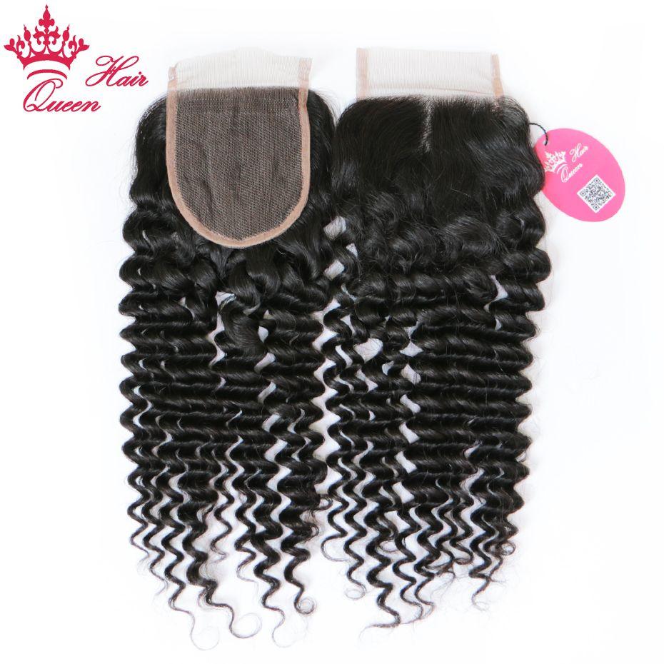 Queen Hair 100% Бразильские Девы Человеческие Волосы 4x4inch Бесплатные Часть Кружева Кружева 10-20 дюймов Глубокий Кудрявый Weave 8A Оценка DHL Fast Доставка