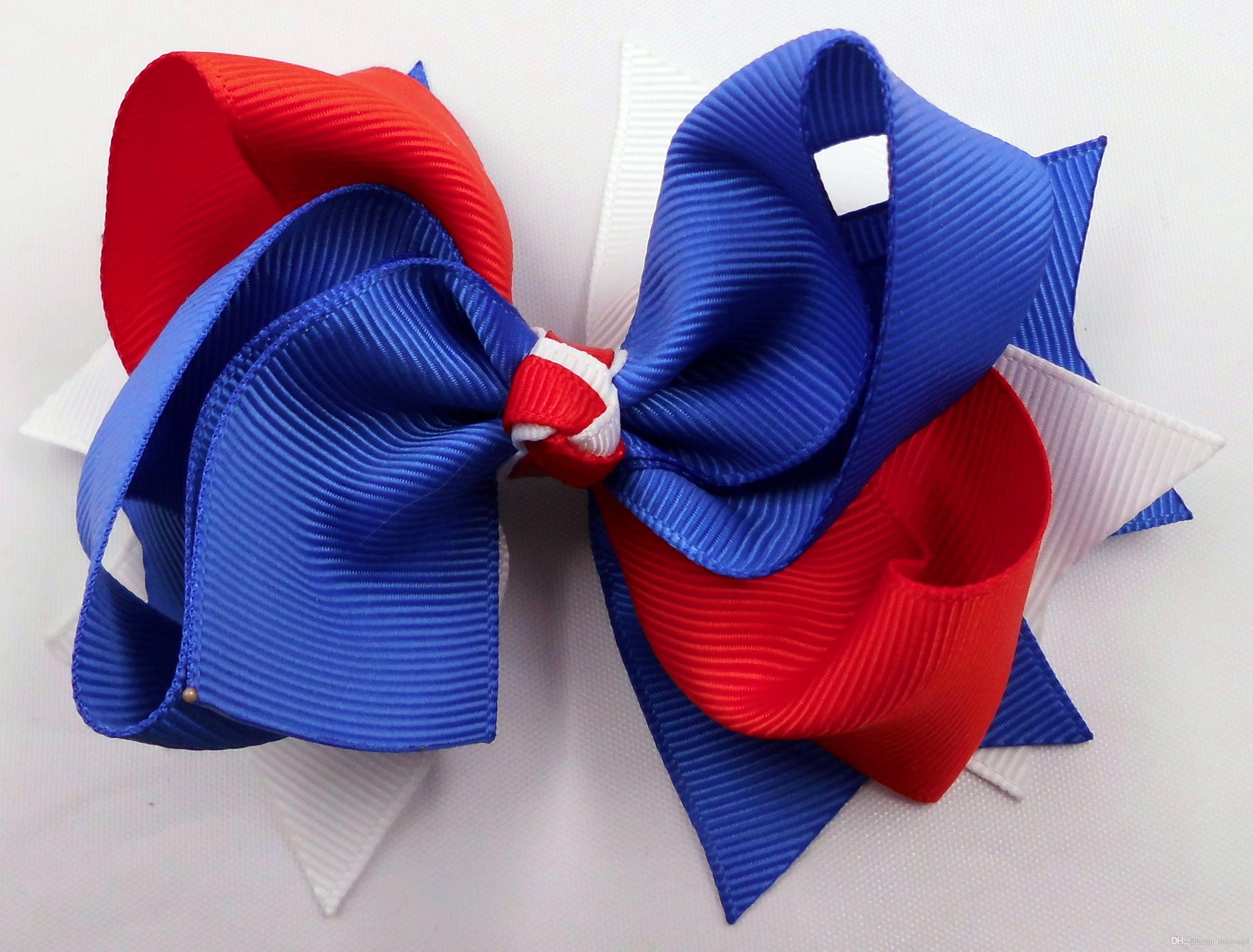 """4.5"""" Royal Blue, White and Red Boutique Girl Hair bow clips Hair Hairbow Headwear Headdress Accessories"""