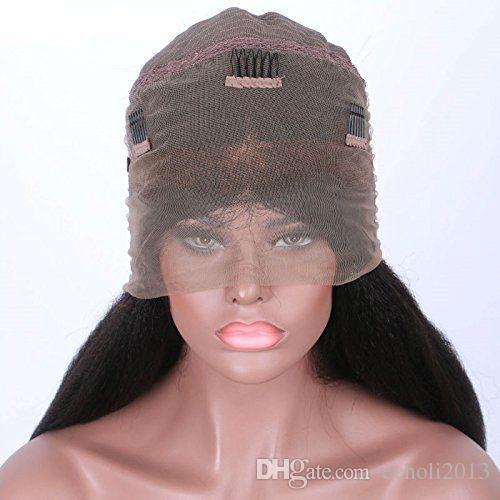 7A 360 parrucca frontale in pizzo 250% alta densità brasiliana yaki crespo parrucche rettilineo dei capelli umani con capelli del bambino 360 parrucca frontale in pizzo