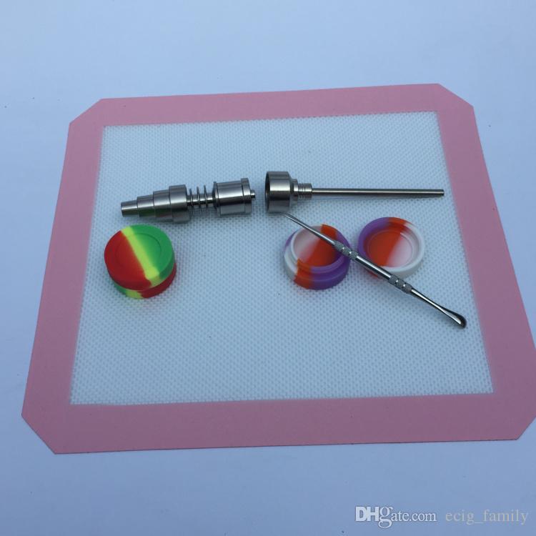 Silicone Mat Jar Slick Pad Sem vara Shatter prova Tool Set Stainless Steel Dabber Dab Jar Pad Kit