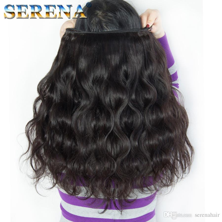 Indian Body Wave cabello humano teje ofertas de paquetes Body Weave cabello húmedo y ondulado 4 paquetes con cierre de encaje Frontal Bundles negro natural
