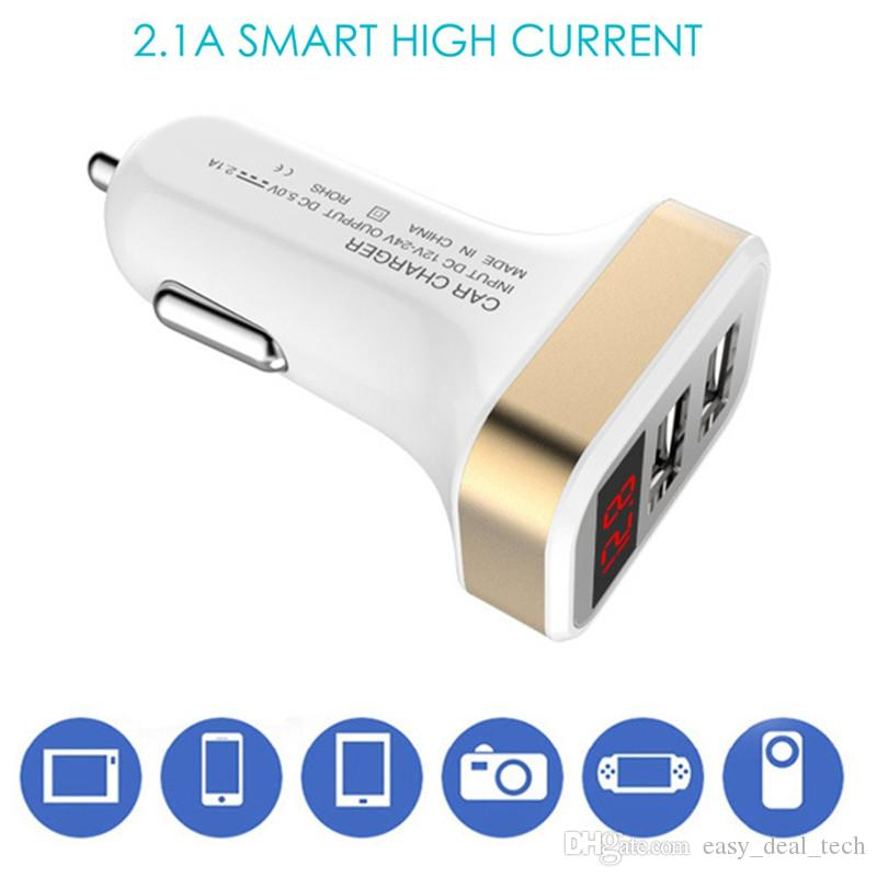 Car Charger 5V 2.1A Quick Charger Dual USB Port LED Display Cigarette Lighter Phone Fast Charging Adapter For Mobile Phone Pad Q0271