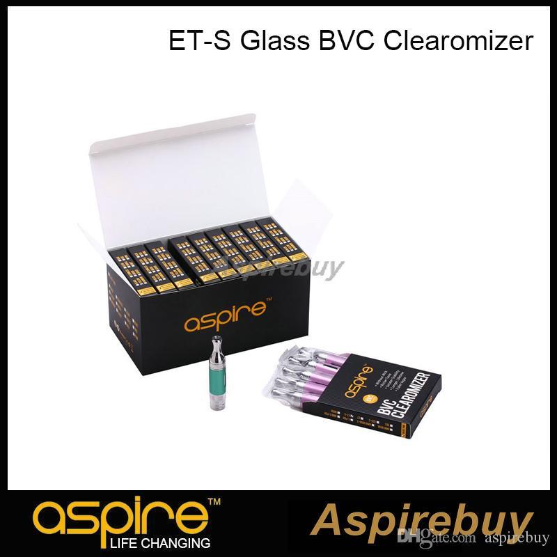 100% autentico Aspire ET-S BVC vetro Clearomizer BVC Serbatoio inferiore Serbatoio verticale Serbatoio atomizzatore a doppia bobina