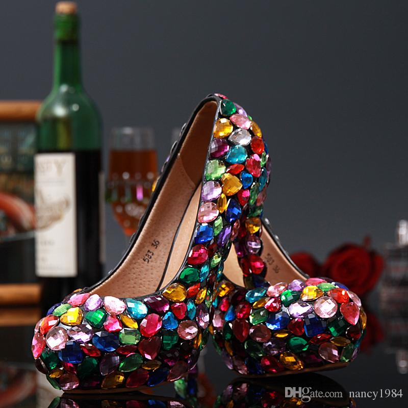 New Arrived Multi Crystal Bridal High Heel Wedding Dress Shoes Closed Toe Ladies Shoes Woman Evening Party Prom Pumps