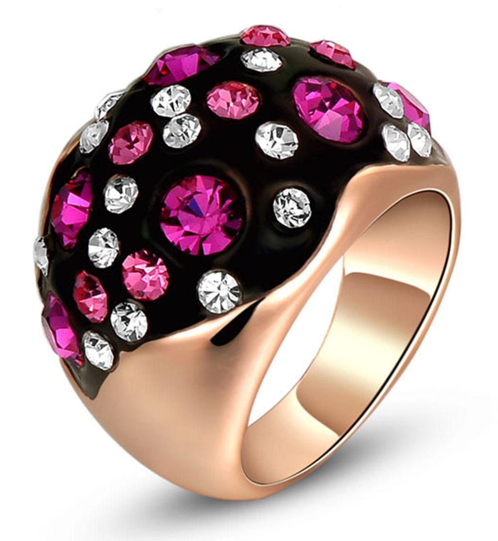 Womens Rubinrot Kristall Inlay Lady Party Finger Band Engagement Hochzeit Rose Gold Überzogener Schwarzer Ring