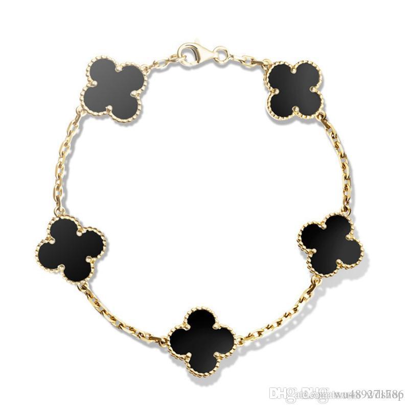 Famous 18k Gold Four Leaf Clover Bracelets With Natural Black Onyx  UN47