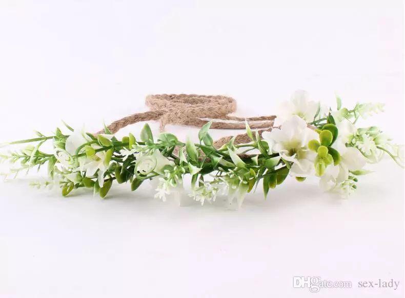Tieback Flower Crown Flower Headband Baby Girl Toddler Woodland Green Leaf Floral Crown Wreath Bohomian Wedding Florial
