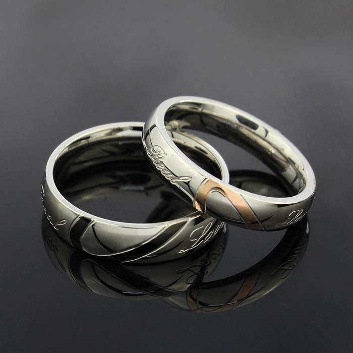 Wedding Couple Rings Brand New Love Heart 316L Stainless Steel 18KGP Wedding Engagement Bands Love Rings
